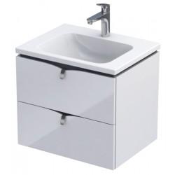 Oristo Siena 60 cm Szafka Biały Połysk z umywalką Twins (OR45-SD2S-60-1+UME-TW-60-91)