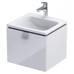 Oristo Bold 50 cm Biały Połysk Szafka z umywalką Twins (OR46-SD1S-50-1+UME-TW-50-91)