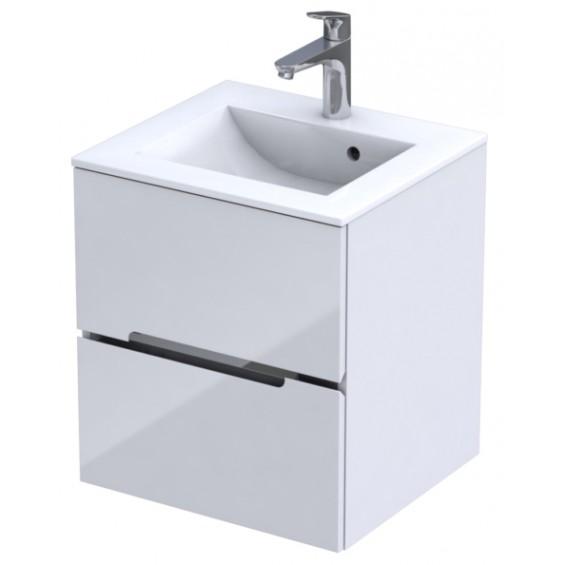 Oristo Silver Biały Połysk Szafka pod umywalkę 50 cm (OR33-SD2S-50-1)
