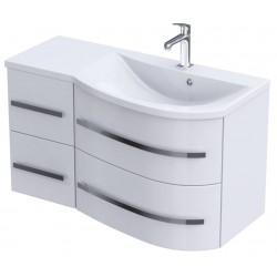 Oristo Opal Biały Połysk Szafka z umywalką 90 cm Prawa (OR30-SD-90-P-2+UM-90-OPAL-P)