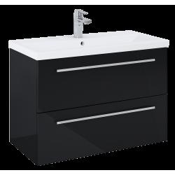 Elita Kwadro Plus Black Szafka 2S Z Umywalką Milos 80 (166771+155780)