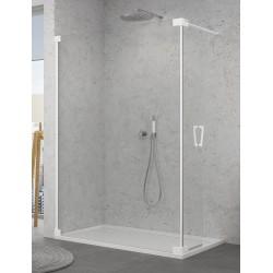 SanSwiss Cadura White Walk-In Ścianka Wolnostojąca Lewa CADUO 100 cm Szkło Przezroczyste CADUOG1000907