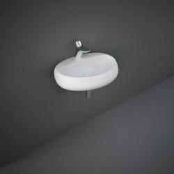 Rak Ceramics Cloud Umywalka Podwieszana i Nablatowa Owalna 65x44cm Z Otworem Biały Mat (CLOWB6501500A)