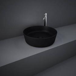 Rak Ceramics Feeling Umywalka Slim Nablatowa Okrągła 42 cm Czarny Mat (FEECT4200504A)
