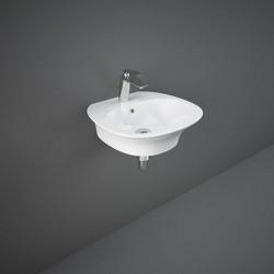 Rak Ceramics Sensation Umywalka Podwieszana i Nablatowa 50x46 cm Z Otworem Biały Połysk (SENWB5001AWHA)