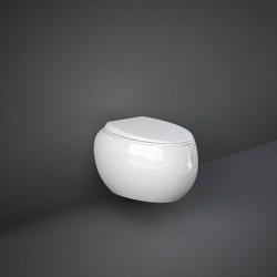 Rak Ceramics Cloud Miska WC Podwieszana Rimless 56x40 cm + Deska WC Biały Połysk (CLOWC1446AWHA+CLOSC3901WH)