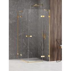 New Trendy Avexa Gold Shine Kabina Prysznicowa Narożna Prostokątna Drzwi Podwójne 80x90 cm Szkło Przezroczyste (EXK-1693)