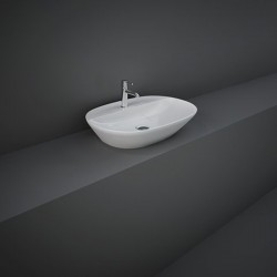Rak Ceramics Variant Umywalka Nablatowa Owalna 60x42 cm Z Otworem Biały Połysk (VARCT36001AWHA)