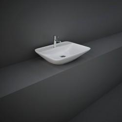 Rak Ceramics Variant Umywalka Nablatowa Prostokątna 55x42 cm Z Otworem Biały Połysk (VARCT55501AWHA)