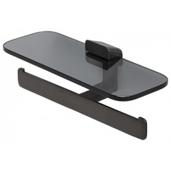 Geesa Shift Brushed Black Uchwyt na papier toaletowy podwójny z półką Szczotkowana Czerń 919948-09-66