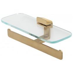 Geesa Shift Brushed Gold Uchwyt na papier toaletowy podwójny z półką Złoty 919948-07