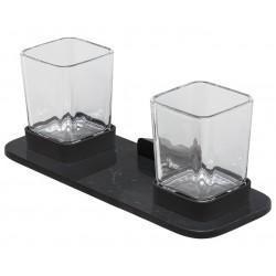 Geesa Shift Black Uchwyt na szkło podwójny z półką Czarny 919934-06-M6