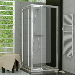 SanSwiss Top-Line Drzwi Prysznicowe Narożne TOE3 NA WYMIAR (90 - 120cm) Szkło Przezroczyste TOE3GSM25007+TOE3DSM25007