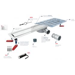 Wiper New Invisible Slim 50 cm - Zestaw (Odpływ+Mankiet+Nóżki) 100.3390.00.050