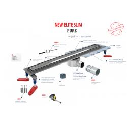Wiper New Elite Slim Pure 50 cm - Zestaw (Odpływ+Mankiet+Nóżki)