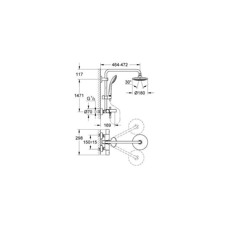 Grohe euphoria system 180 zestaw wannow prysznicowy z termostatem 27475000 - Grohe euphoria system 180 ...