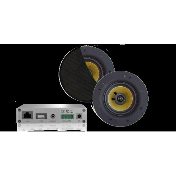 AquaSound Wzmacniacz Wi-Fi Z Czarnymi Głośnikami Rumba 45W WMA30-RZ