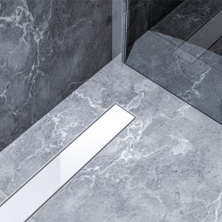 Bravat Odwodnienie prysznicowe White Glass Steel Drain 600mm