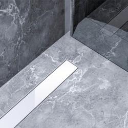 Bravat Odwodnienie prysznicowe White Glass Steel Drain 800mm