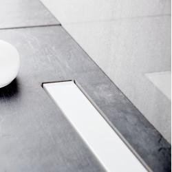 Bravat Odwodnienie prysznicowe Seamless White Glass Steel Drain 550mm