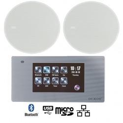 Dexon Odtwarzacz Ścienny Bluetooth Wi-Fi-LAN Radio FM / USB / SD z Wodoodpornymi Głośnikami 20W (MRP 2200+16601)