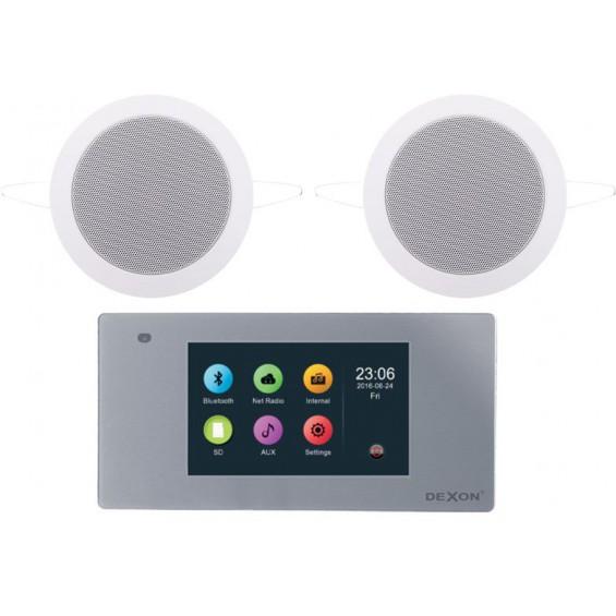 Dexon Odtwarzacz Ścienny Bluetooth, Wi-Fi - LAN Radio Internetowe /USB/SD z Głośnikami COCO (MRP 2201+Twist)